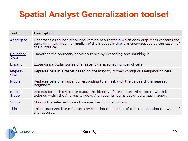 Spatial Analyst Generalization toolset Koert Sijmons 109