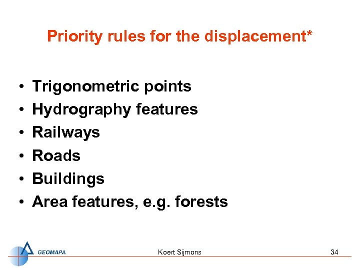 Priority rules for the displacement* • • • Trigonometric points Hydrography features Railways Roads
