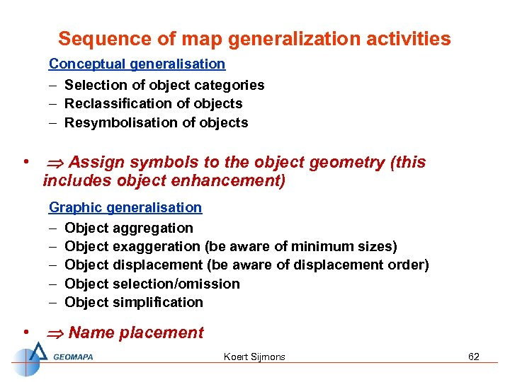 Sequence of map generalization activities Conceptual generalisation – Selection of object categories – Reclassification