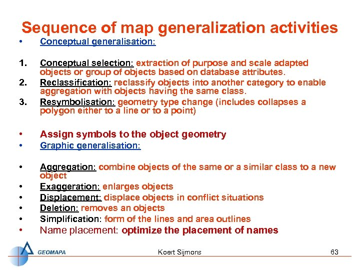 Sequence of map generalization activities • Conceptual generalisation: 1. Conceptual selection: extraction of purpose