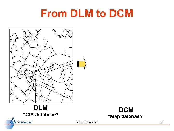 """From DLM to DCM DLM DCM """"GIS database"""" """"Map database"""" Koert Sijmons 80"""