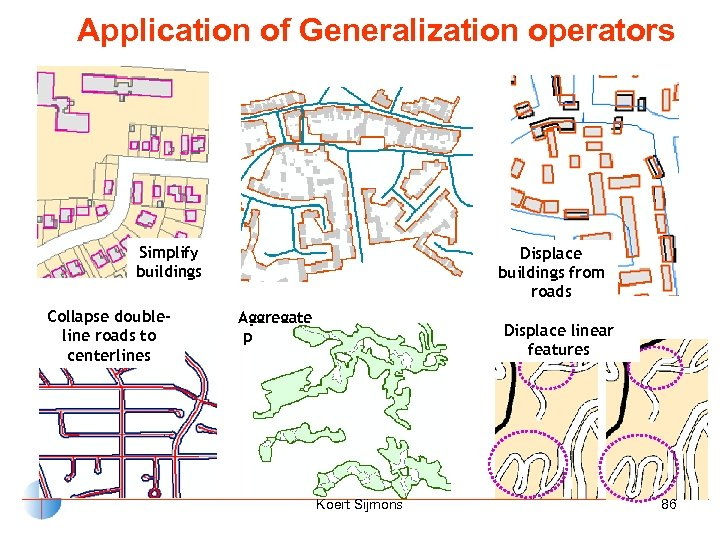 Application of Generalization operators Aggregate buildings avoiding streets Simplify buildings Collapse doubleline roads to