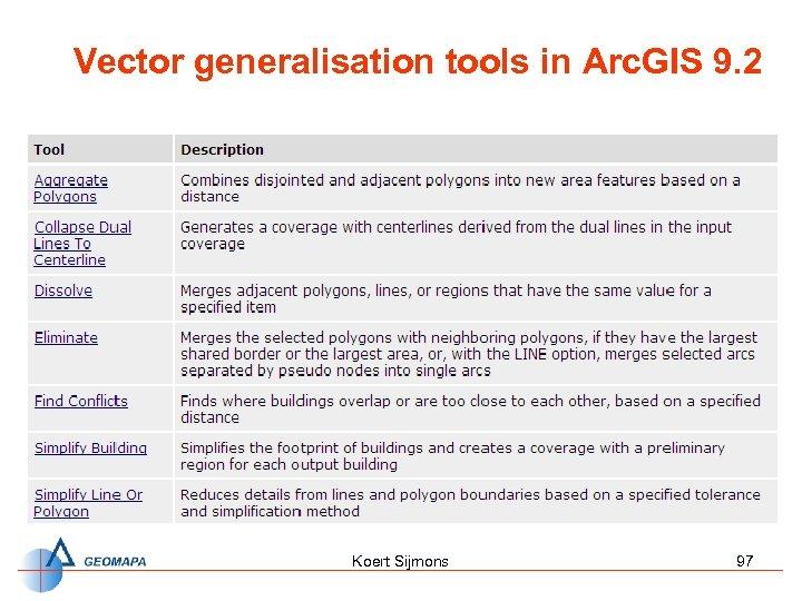 Vector generalisation tools in Arc. GIS 9. 2 Koert Sijmons 97