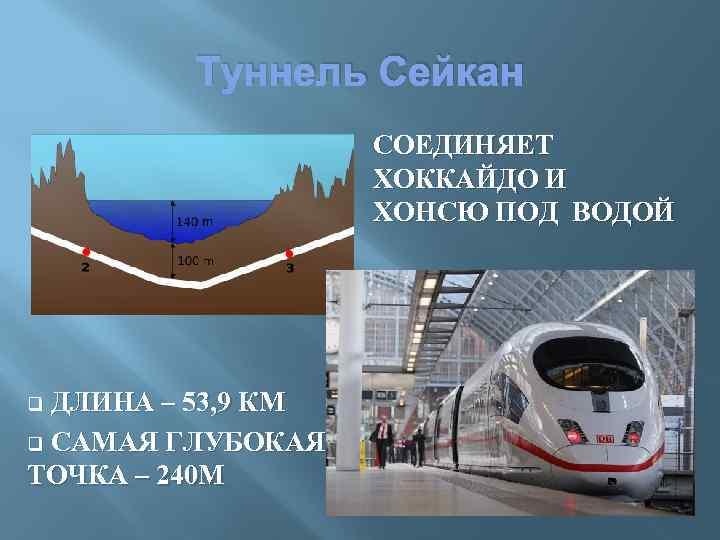 Туннель Сейкан СОЕДИНЯЕТ ХОККАЙДО И ХОНСЮ ПОД ВОДОЙ ДЛИНА – 53, 9 КМ q