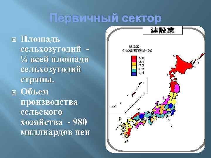 Первичный сектор Площадь сельхозугодий ¼ всей площади сельхозугодий страны. Объем производства сельского хозяйства -