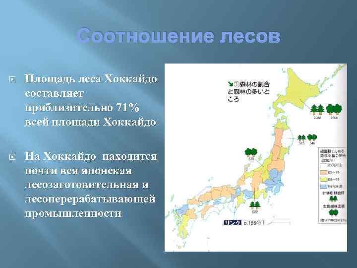 Соотношение лесов Площадь леса Хоккайдо составляет приблизительно 71% всей площади Хоккайдо На Хоккайдо находится