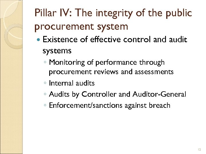 Pillar IV: The integrity of the public procurement system Existence of effective control and