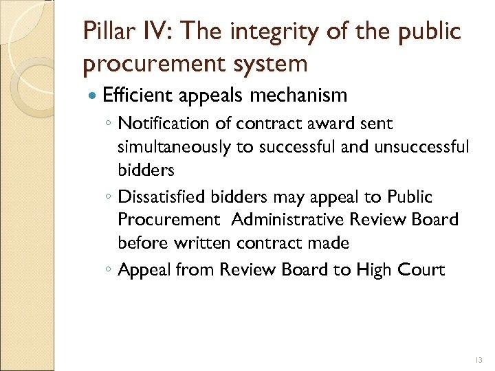 Pillar IV: The integrity of the public procurement system Efficient appeals mechanism ◦ Notification