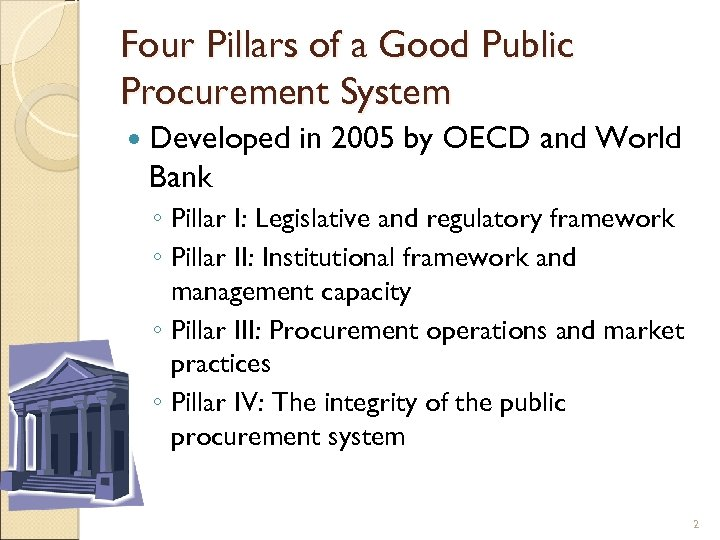 Four Pillars of a Good Public Procurement System Developed in 2005 by OECD and