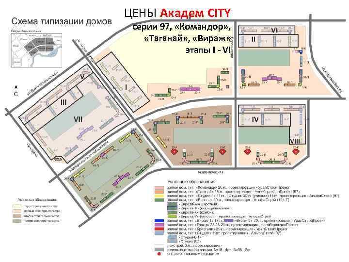 ЦЕНЫ Академ CITY серии 97, «Командор» , «Таганай» , «Вираж» этапы I - VI