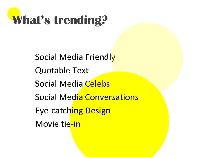 What's trending? Social Media Friendly Quotable Text Social Media Celebs Social Media Conversations Eye-catching