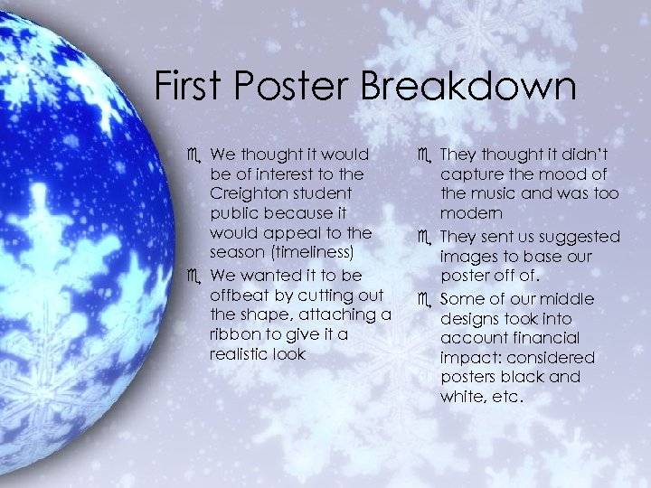 First Poster Breakdown e We thought it would be of interest to the Creighton