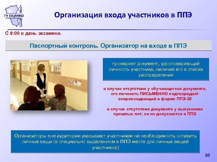Организация входа участников в ППЭ С 9: 00 в день экзамена. Паспортный контроль. Организатор
