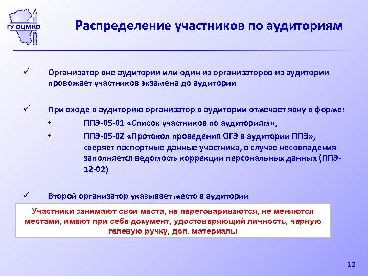 Распределение участников по аудиториям ü Организатор вне аудитории или один из организаторов из аудитории