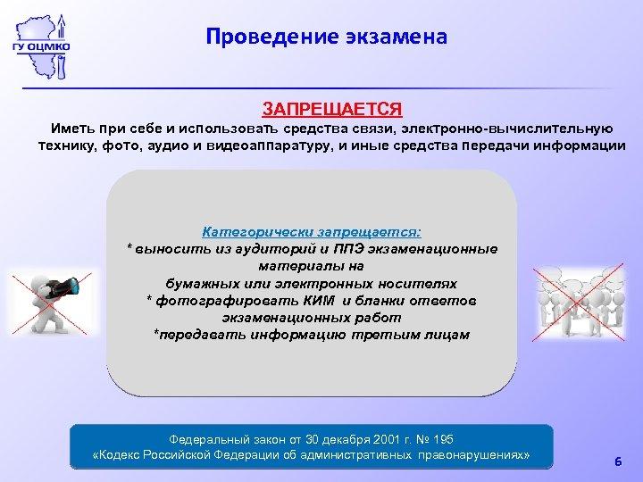 Проведение экзамена ЗАПРЕЩАЕТСЯ Иметь при себе и использовать средства связи, электронно-вычислительную технику, фото, аудио