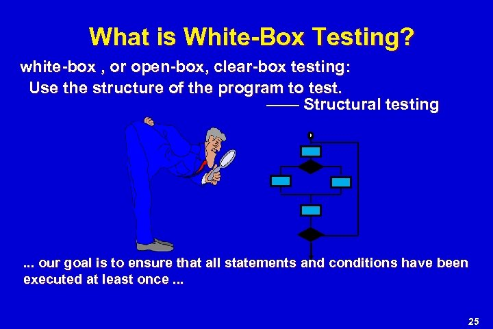What is White-Box Testing? white-box , or open-box, clear-box testing: Use the structure of