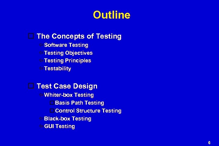 Outline The Concepts of Testing Software Testing Objectives Testing Principles Testability Test Case Design