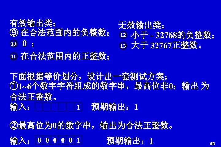 有效输出类: 无效输出类: ⑨ 在合法范围内的负整数; 12 小于 - 32768的负整数; 10 0 ; 13 大于 32767正整数。