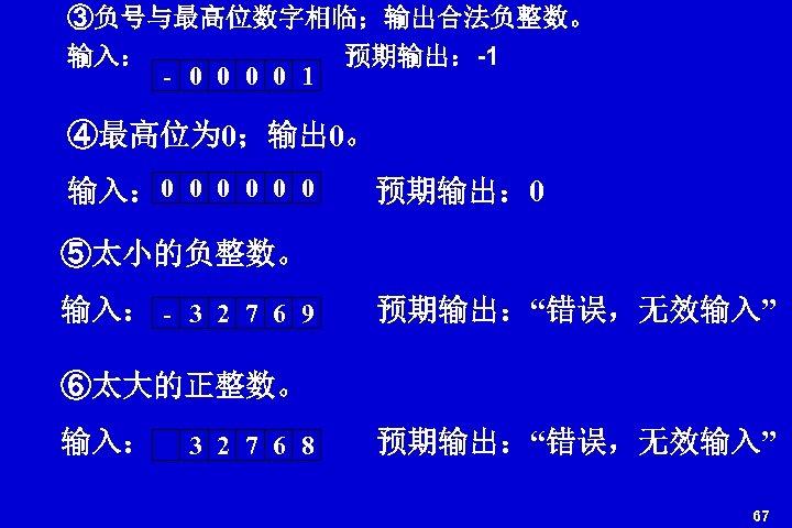 ③负号与最高位数字相临;输出合法负整数。 输入: 预期输出:-1 - 0 0 1 ④最高位为 0;输出 0。 输入: 0 0 0