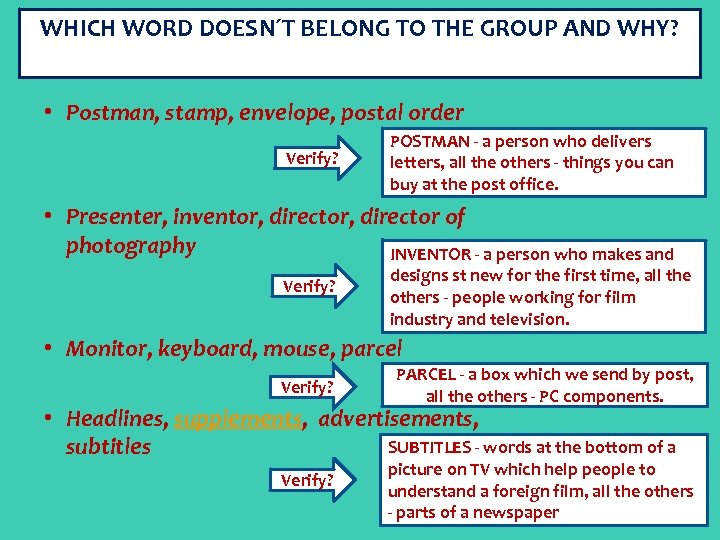 WHICH WORD DOESN´T BELONG TO THE GROUP AND WHY? • Postman, stamp, envelope, postal