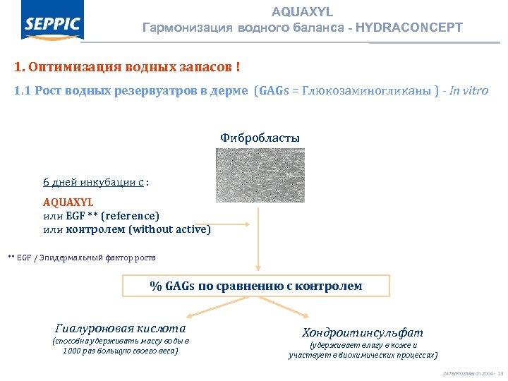 AQUAXYL Гармонизация водного баланса - HYDRACONCEPT 1. Оптимизация водных запасов ! 1. 1 Рост