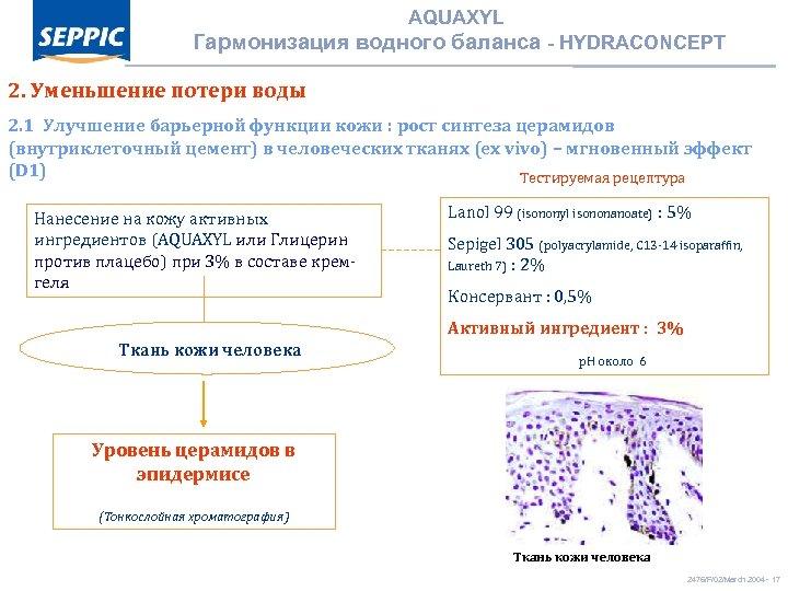 AQUAXYL Гармонизация водного баланса - HYDRACONCEPT 2. Уменьшение потери воды 2. 1 Улучшение барьерной