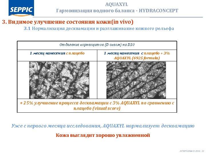 AQUAXYL Гармонизация водного баланса - HYDRACONCEPT 3. Видимое улучшение состояния кожи(in vivo) 3. 1