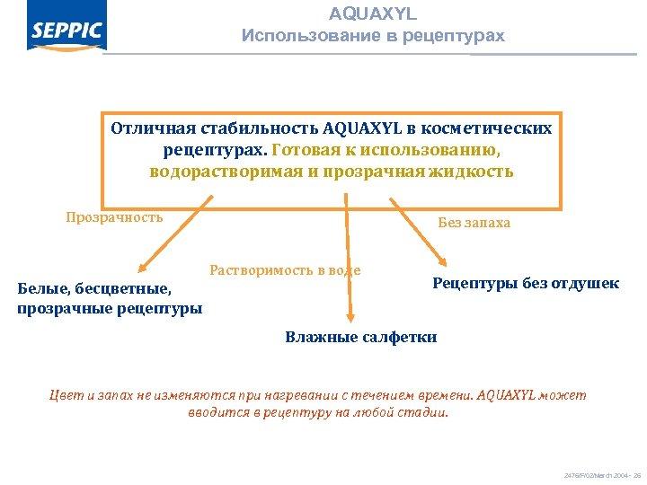 AQUAXYL Использование в рецептурах Отличная стабильность AQUAXYL в косметических рецептурах. Готовая к использованию, водорастворимая