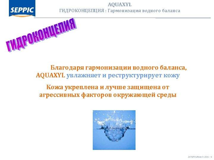 AQUAXYL ГИДРОКОНЦЕПЦИЯ : Гармонизация водного баланса Благодаря гармонизации водного баланса, AQUAXYL увлажняет и реструктурирует