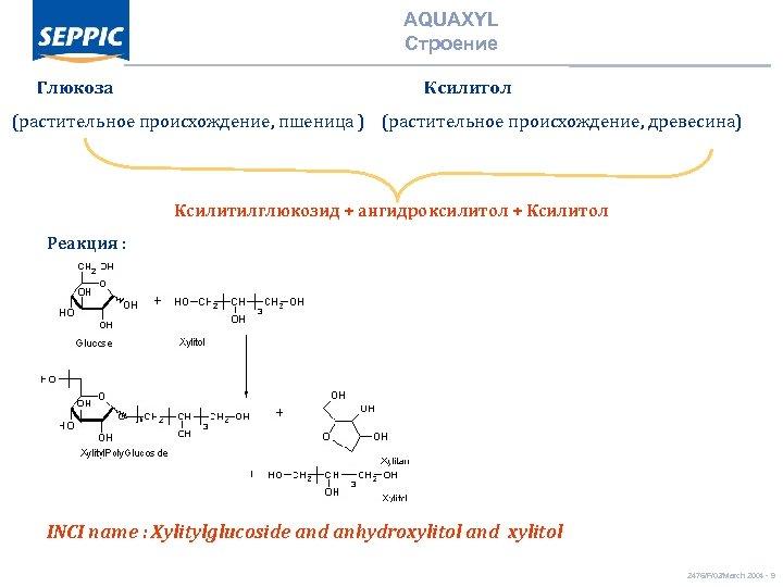 AQUAXYL Строение Глюкоза Ксилитол (растительное происхождение, пшеница ) (растительное происхождение, древесина) Реакция : Ксилитилглюкозид