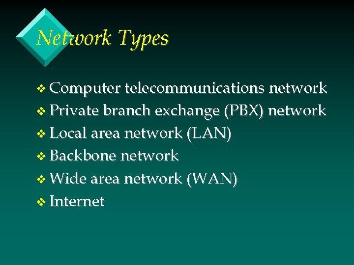 Network Types v Computer telecommunications network v Private branch exchange (PBX) network v Local