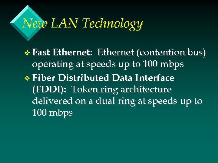 New LAN Technology v Fast Ethernet: Ethernet (contention bus) operating at speeds up to