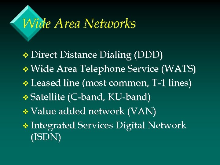 Wide Area Networks v Direct Distance Dialing (DDD) v Wide Area Telephone Service (WATS)