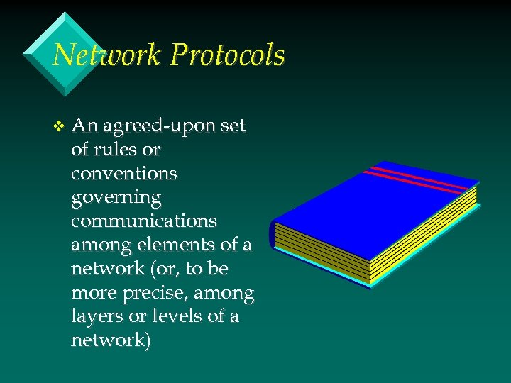 Network Protocols v An agreed-upon set of rules or conventions governing communications among elements