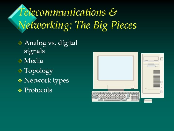 Telecommunications & Networking: The Big Pieces Analog vs. digital signals v Media v Topology