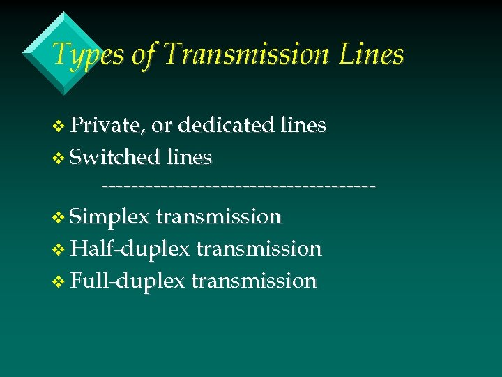 Types of Transmission Lines v Private, or dedicated lines v Switched lines ------------------v Simplex
