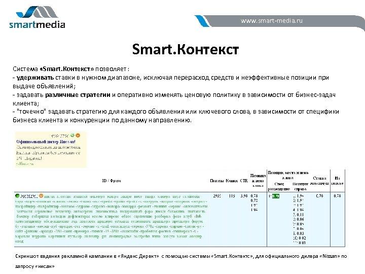 www. smart-media. ru Smart. Контекст Система «Smart. Контекст» позволяет : - удерживать ставки в