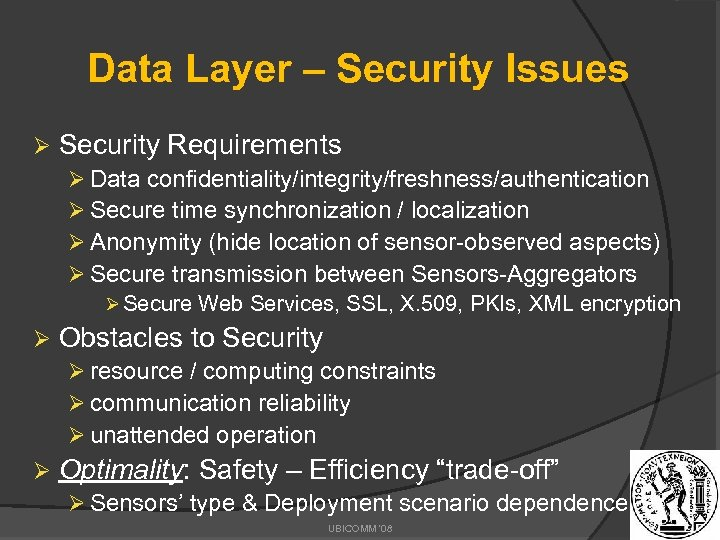Data Layer – Security Issues Ø Security Requirements Ø Data confidentiality/integrity/freshness/authentication Ø Secure time