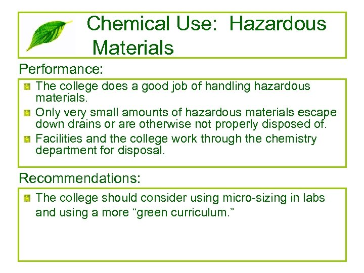 Chemical Use: Hazardous Materials Performance: The college does a good job of handling hazardous