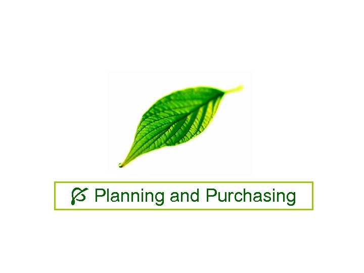 Planning and Purchasing