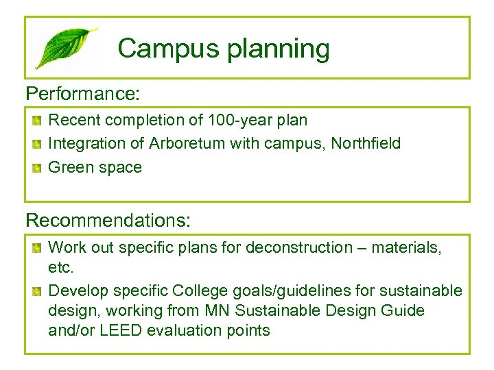 Campus planning Performance: Recent completion of 100 -year plan Integration of Arboretum with campus,