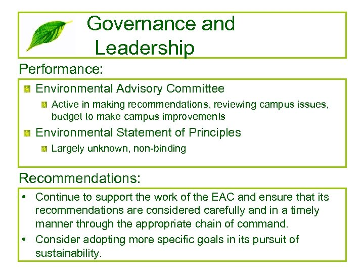 Governance and Leadership Performance: Environmental Advisory Committee Active in making recommendations, reviewing campus issues,