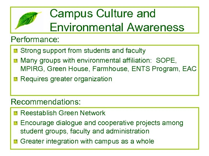 Campus Culture and Environmental Awareness Performance: Strong support from students and faculty Many groups