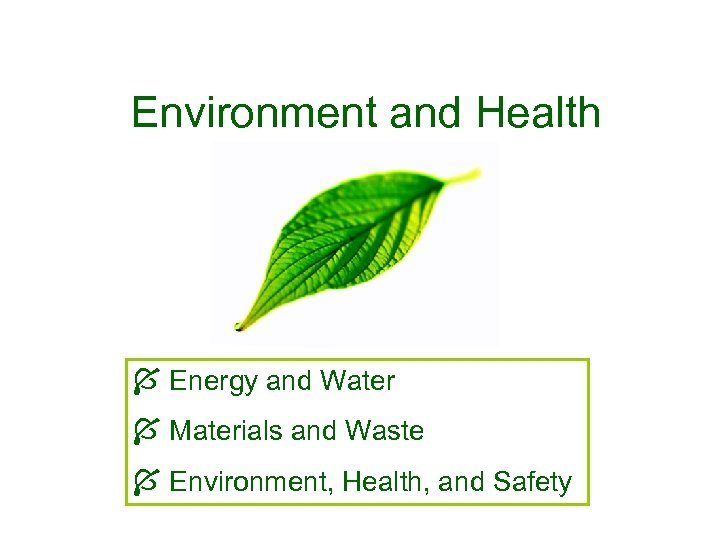 Environment and Health Energy and Water Materials and Waste Environment, Health, and Safety