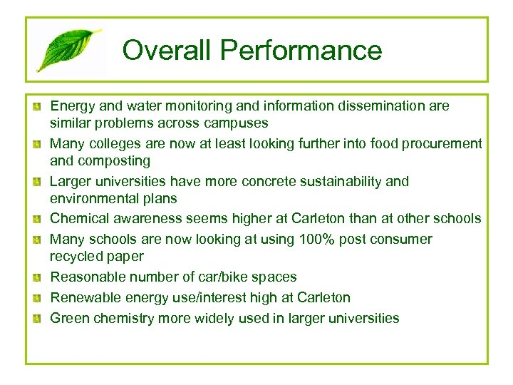 Overall Performance Energy and water monitoring and information dissemination are similar problems across campuses
