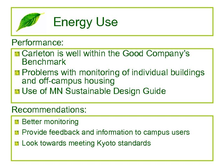 Energy Use Performance: Carleton is well within the Good Company's Benchmark Problems with monitoring