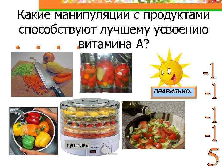 Какие манипуляции с продуктами способствуют лучшему усвоению витамина А? ПРАВИЛЬНО! сушилка