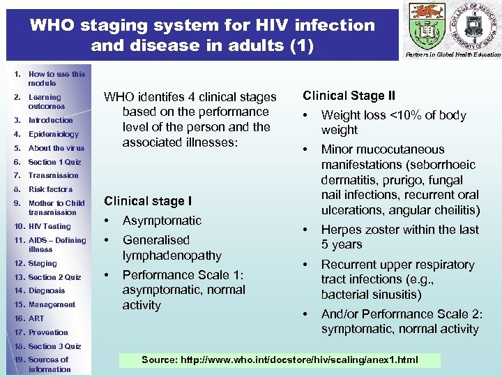 WHO staging system for HIV infection and disease in adults (1) Partners in Global