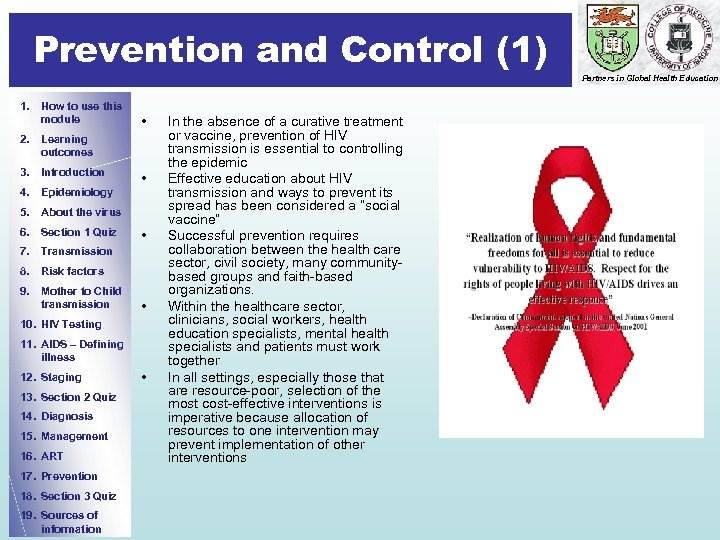Prevention and Control (1) Prevention Partners in Global Health Education 1. How to use