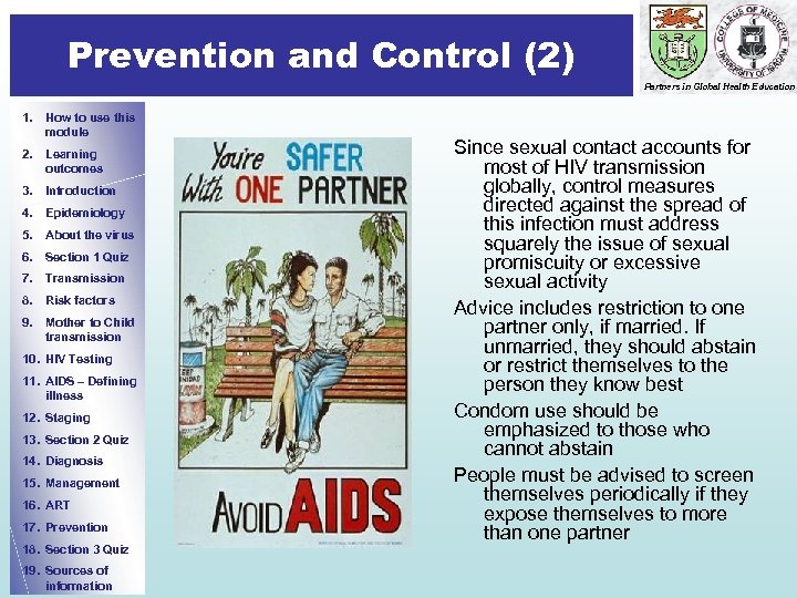 Prevention and Control (2) Prevention Partners in Global Health Education 1. How to use